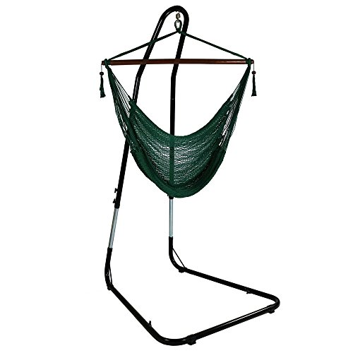 Sunnydaze Hanging Rope Hammock Chair Swing with Adjustable Stand Extra Large Caribbean Green  for Indoor or Outdoor Patio Yard Porch and Bedroom