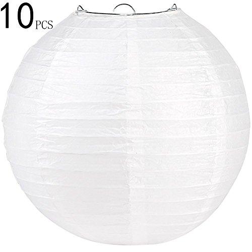 Uping 12〃Round Paper Lanterns |10 Pack| White