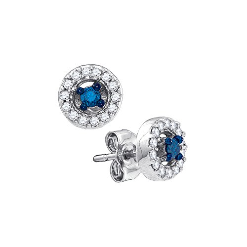 1/4 Cttw Blue And White Diamond Fashion Earings In 10K White Gold -  Katarina, 62004901