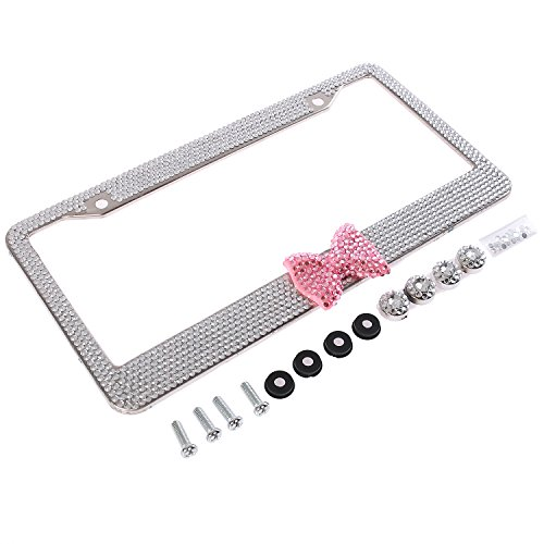 - Handmade Fashion Clear Frame Pink Bow Bling Crystal Car License Plate Frame Cute Waterproof Gift Rhinestone SUV License Plate Holder Stainless Steel Truck Plate Frame Lady(1 Frame)