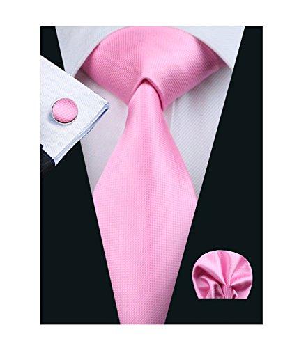 Barry.Wang Pink Tie and Pocket Square Set Solid Tie Cufflinks Set Silk (Necktie Pink Silk)