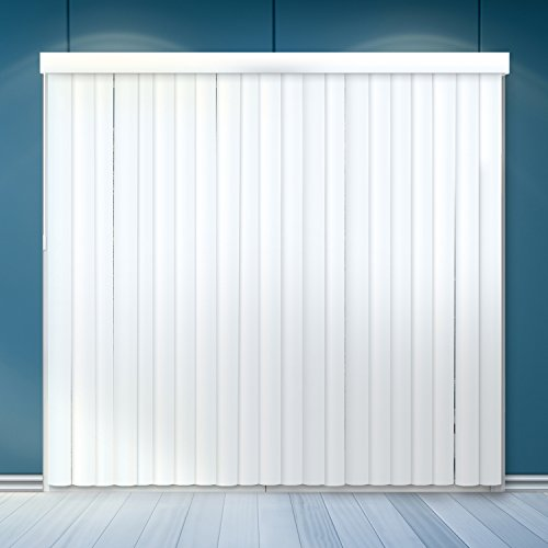 "Chicology Cordless Vertical Blinds / 78""W X 84""H, Curtain Drape Window Shade, PVC, Variable Light Control - Cascading White"