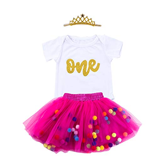 Baby Girls 1st Birthday Outfit Glitter One Romper Balls Skirt Crown Headband (Hot Golden, 12-18Months)
