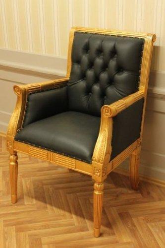 LouisXV Barroco fauteuille silla de oficina de cuero negro ...