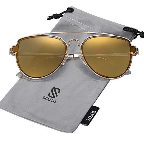 SOJOS Fashion Polarized Aviator Sunglasses for Men Women Mirrored Lens SJ1051 with Gold Frame/Brown Mirrored Polarized ()