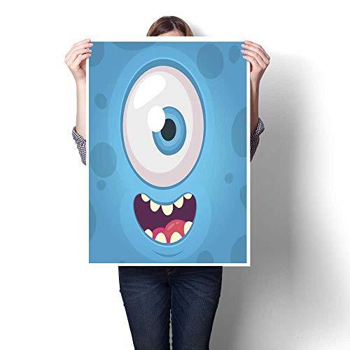smllmoonDecor Wall Art Oil Paintings Funny Monster One Eye Face Vector Illustration Halloween Cartoon Monster Decorative Fine Art Canvas Print Poster K 32