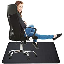 Black Chair Mat for Hard Floor: Oversized 35x47 inches Straight Edge Rectangular Thick & Sturdy Multi-purpose Polyethylene Office Chair Mat for Home & Office Use