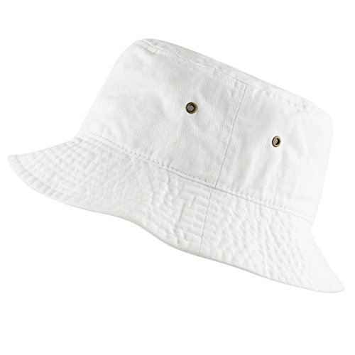 The Hat Depot 300N Unisex 100% Cotton Packable Summer Travel Bucket Hat (L/XL, White)