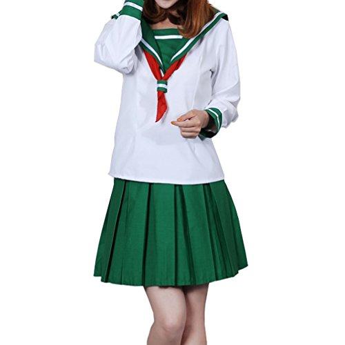 Yesui Sailor Suit For Women School Girls Long Sleeves Uniform Dress Lolita Cosplay Costume Set White+Green Medium -