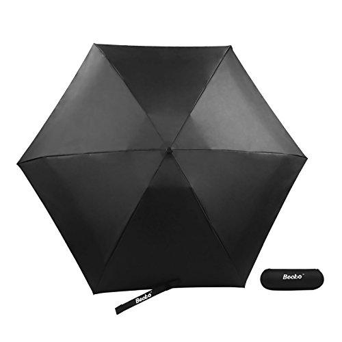 Becko Mini Kids Travel Pocket Umbrella 5-Fold Rain Umbrella with Waterproof Case (Black)
