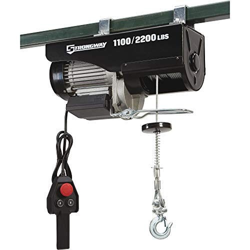 Strongway Electric Cable Hoist - 1100-Lb. Single Line Capacity, 2200-Lb. Double Line Capacity, 38ft./19ft. Lift ()