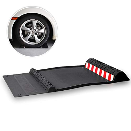 Zone Tech Black Durable Parking Mat - Classic Black Premium Quality Durable Car Garage Wheel Professional Grade Parking Mat with Red and White Reflective Tape