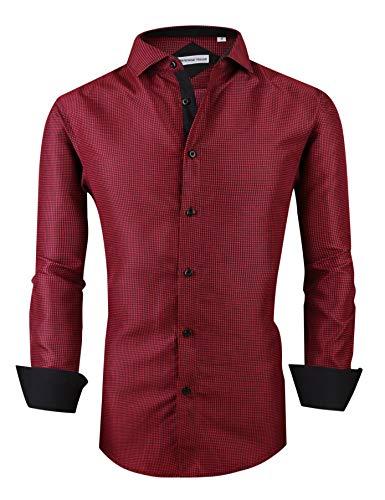 Mens Long Sleeve Printed Dress Shirts Casual Button Down Regular Fit Men Shirt (Long-red ()
