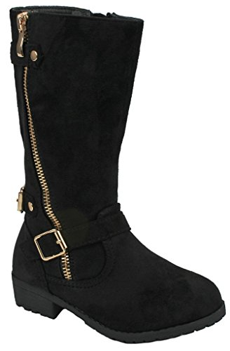 Kids Girls Mango21 Dual Buckle/Zipper Quilted Mid Calf Motorcycle Boots - stylishcombatboots.com