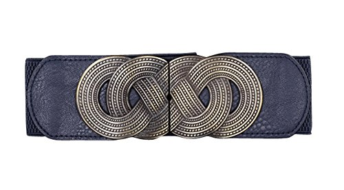 E-Clover Designer Metal Buckle Women's Elastic Waist Cinch Belt (Navy Blue)