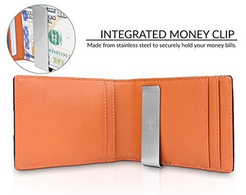Money Clip Wallet HOUSTON Mens Wallet RFID Blocking Wallet - Minimalist Mini Slim Wallets Bifold for Men with Gift 3
