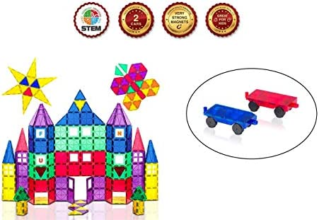 Set of Playmags 3D Magnetic Blocks for Kids Set of 100 Blocks and Playmags 2 Piece Car Set:Stronger Magnets STEM Toys for Kids