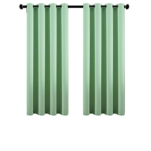 DOOYEE Room Darkening Blackout Draperies Small Windows/Girl Room/Baby Room,Solid Color Thermal Insulated Grommet Top Noise Reduce 2 Panels 2 Tiebacks,W52 L63 Aqua Green