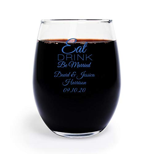 Eat Drink Be Married 9 oz Personalized Stemless Wine Glass, Case of 72 Wine Glass Wedding Favors Blue Printed, Bride to Be Bachelor Party]()
