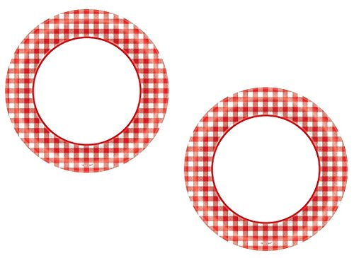 Disposable Classic Picnic Red Gingham Border Round Plates Party Tableware, Paper, 6