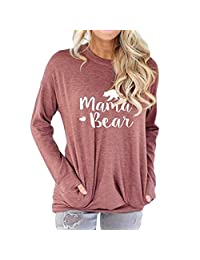 Freemale Womens Mama Bear Sweatshirt Long Sleeve Pullover Casual Pocket Blouses