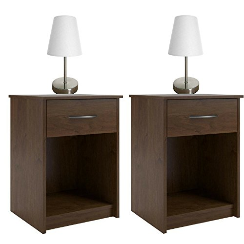 One Light Northfield (Mainstays 1-Drawer Nightstand/End Table w/Table Lamp with Fabric Shade - Northfield Alder)