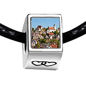 Chicforest Silver Plated Travel Altensteig Black Forest Germany Photo Double Heart Charm Beads Fit Pandora Chamilia Biagi Charm Bracelet
