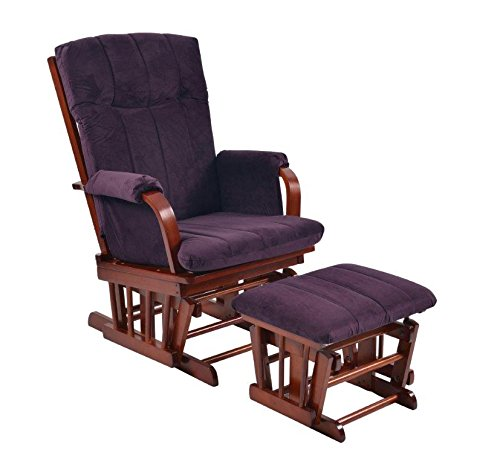 Artiva USA Home Deluxe Microfiber Cherry Wood Glider and Ottoman Set, Royal Purple ()