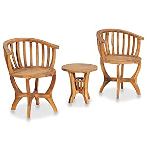 vidaXL 3 Piece Teak Patio Set Tables and 2 Chairs