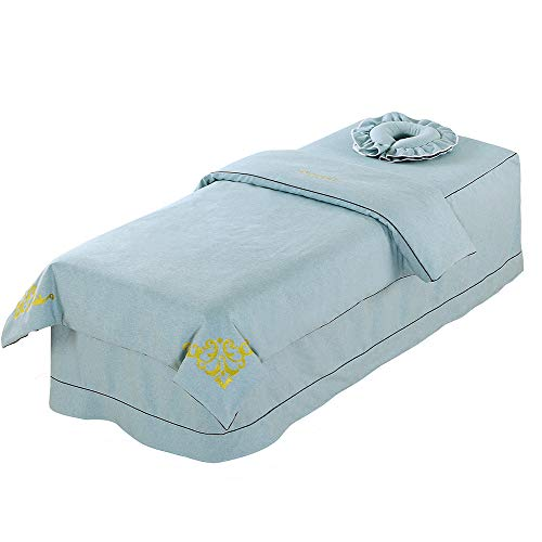 Premium Massage Table Sheet Sets with Face Rest Hole Fitted Table Skirt Luxury Face Cradle Spa Blanket 3 Piece-for Portable Adjustable Folding Massage Table Bed (Light Blue)