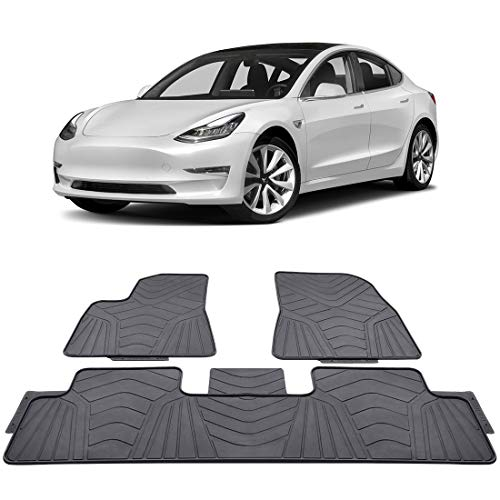 BougeRV Tesla Model 3 Interior Floor Mats Tesla Accessories All Weather for Model 3 2017 2018 2019 Waterproof Largest Coverage Perfectly fits Model 3 Odourless Material