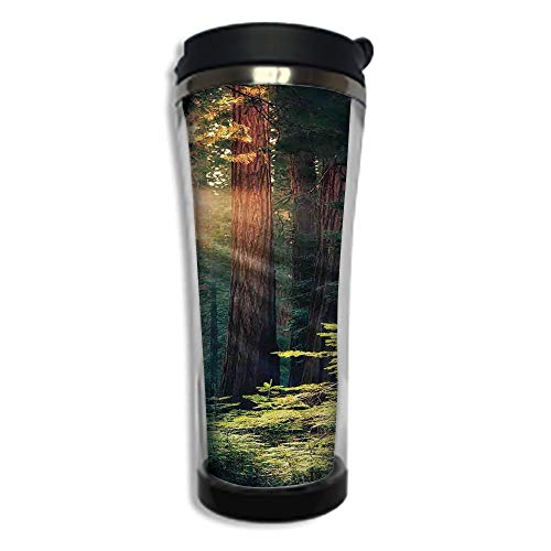 Customizable Travel Photo Mug with Lid - 8.45 OZ(250 ml)Stainless Steel Travel Tumbler, Makes a Great Gift by,National Parks Home Decor,Morning Sunlight in Wilderness Yosemite Sierra Nevada Nature Ar