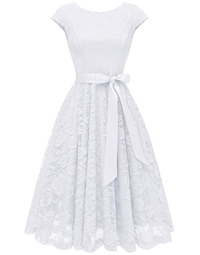 Sorority Girl Dress - BeryLove Women's Floral Lace Short Bridesmaid Dress Cap Sleeve Cocktail Party Dress BLP7016White M