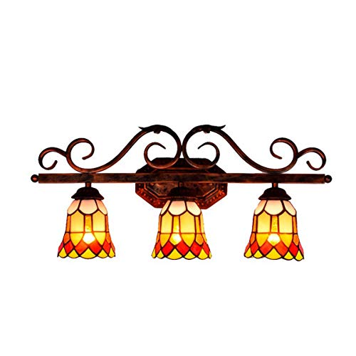 European Vintage Bathroom Vanity Wall Lamp Tiffany Style Stained Glass Make-up 3-Light Mirror Front Light for Bedroom Living Room Hallway