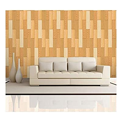 Vertical Yellow Tones of Wood Textured Paneling Pattern - Wall Mural, Removable Wallpaper, Home Decor - 100x144 inches
