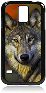 meilz aiaiWolf - Case for the Galaxy S5 i9600- Hard Black Plastic Snap On Case with Soft Black Rubber liningmeilz aiai