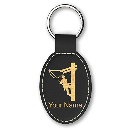 Oval Keychain, Lineman, Personalized Engraving Included ()