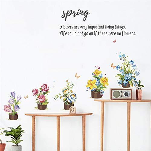 TPCXX Romantische Garten Blume Schmetterling Wandaufkleber Für Schlafzimmer Wohnzimmer Dekorative PVC Wandtattoo Plakat