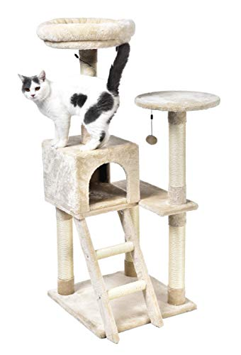 AmazonBasics Extra Large Cat Tree with Cave And Step Ladder - 19 x 50 x 19 Inches, Beige (Tree Cat Scratcher)