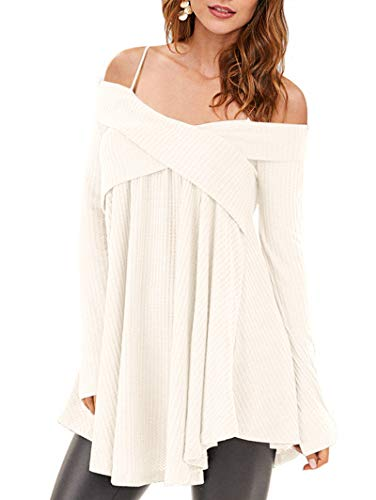 882767c4350 KENANCY Womens Cold Shoulder Crisscross Sweater Long Sleeve Tunic Knit  Pullover Top