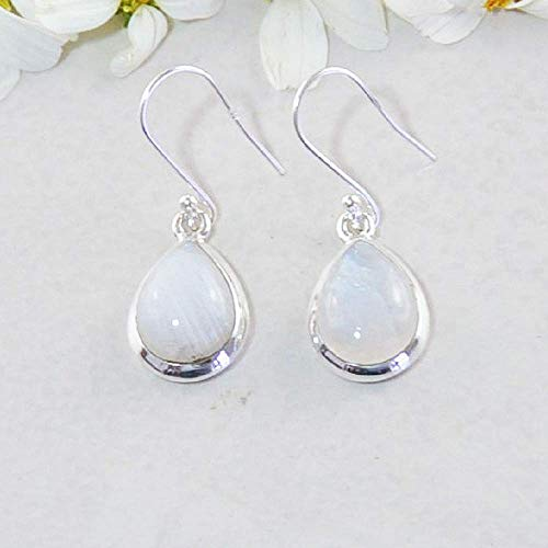 (Sivalya 3.00 Ctw Pear Cut Moonstone Earrings in 925 Sterling Silver - Genuine Teardrop Shape Gemstone Solid Silver French Hook Dangle Earrings 1.5