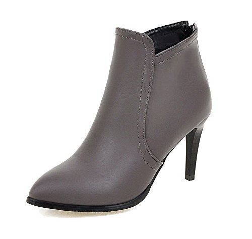Top PU Women's Boots Gray Solid AgooLar High Low Zipper Heels TqtnOwHx