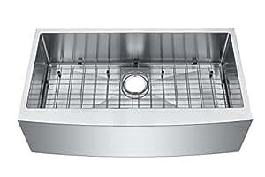 "Starstar 36"" Undermount Farmhouse Apron 304 Stainless Steel 16 Gauge Single Bowl Kitchen Sink (Sink,Grid,and Strainer)"