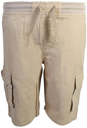(Quad Seven Boys Pull-On Twill Cargo Shorts, Khaki, Size 16')