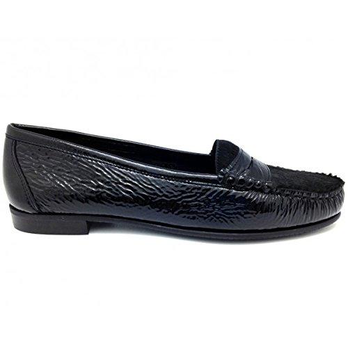 Castellano® 1920 Madrid - Mocasín en Charol Negro y Pelo Negro para Mujer: Amazon.es: Zapatos y complementos