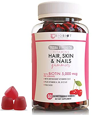 Extra Strength Formula Hair, Skin and Nail - 60 Flavored Gummies - Longer, Stronger, Healthier Hair Chewable Vitamin Dietary Supplements for Women & Men - 5000mcg Biotin - Multivitamins