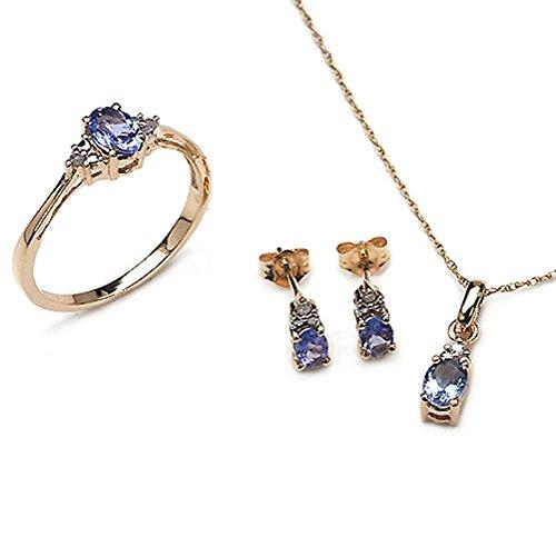 Bijoux Schmidt-Diamant / Tanzanite pendentifs, boucles d'oreilles, bague, 10 carats or jaune