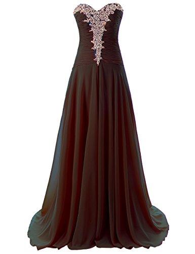 JAEDEN Women's Sweetheart Evening Dresses Chiffon Prom Gown (US 20W, Black)