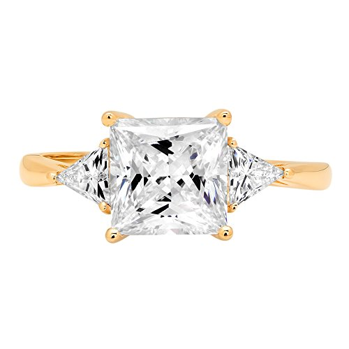 2.50 ct Three Stone Princess & Trillion Brilliant Cut Statement Classic Designer Solitaire Anniversary Engagement Wedding Bridal Promise Ring Band in 14k Yellow Gold