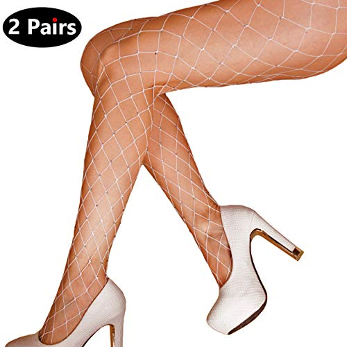 2 Pairs Women's Rhinestone Fishnets Pantyhose Hollow Out Pantyhose Tights (Regular, White) ()
